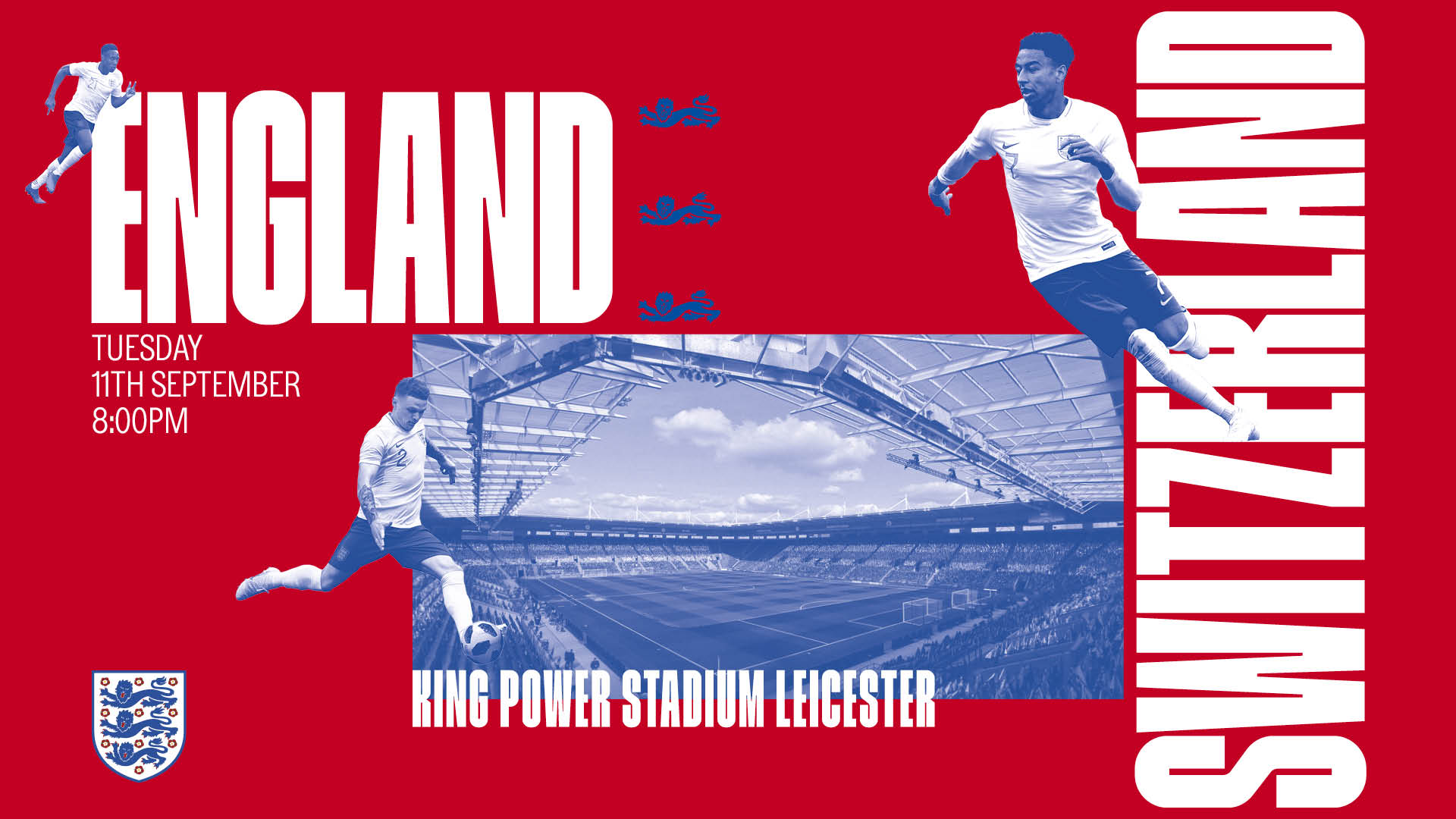 England to face Switzerland at The King Power